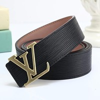 LV Louis Vuitton Fashion Smooth Buckle Belt Leather Belt