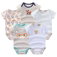 2017 New Arrival Summer Baby Clothes 5 Pieces Newborn Baby Boy Girls Rompers Short Sleeve Cotton Print Baby Clothing Romper