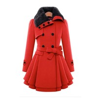 Women's Fashion Slim Double Breasted Thicken Jacket [69652119567]