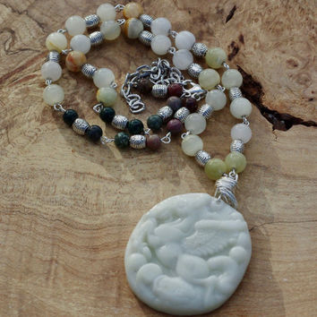 White Jade Statement Necklace ~ Pegasus Hand Carved Pendant ~ Flying Horse ~ Hand Wired Sterling Silver ~ Chinese Jadeite ~ Good Luck Stones