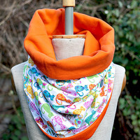 Chunky Cat Scarf, Circular Cotton Neck Warmer, Reversible Cowl, Chunky Tube, Colorful Jersey Cosy snood