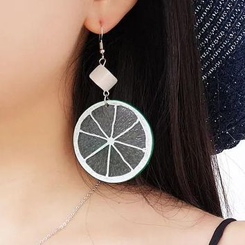 New personality fruit earring ladies exquisite lime Ear studs Stockings Shoes Dress Bikini bag