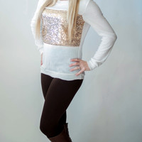 Sparkle Sweater - Winter White & Gold
