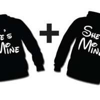 He's Mine , She's Mine , 2 Hoodie Sweatshirts for Couple, LOVE , BEST GIFT