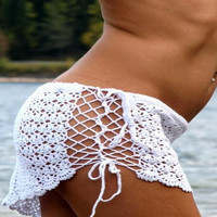 Hollow Out Knit Crochet Mini Beach Skirt 11501