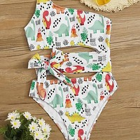 Cartoon Dinosaur Print Belted One Piece Swimsuit