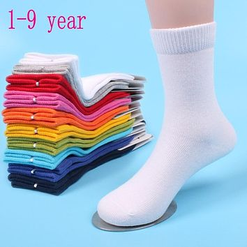 20 pieces=10 pairs 1-9 year children socks spring&autumn cotton baby girls socks with boys socks Solid Color kids Sport Socks