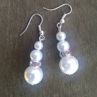 Triple Pearl Earrings with Pink Crystal Accents Wedding Jewelry Bridal Jewelry Pearl Wedding Jewelry