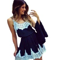 Suppion® Women Sexy Lace Stitching Patchwork Harness Dress Base Skirt