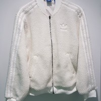 Adidas Fashion Casual Long Sleeve To Keep Warm Lambs wool Jacket