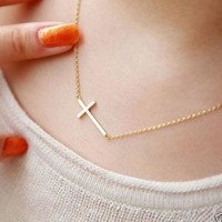 Women's Gold or Silver Plated Small Tiny Horizontal Sideways Cross Choker Pendant Necklace