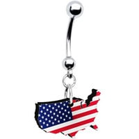 American Flag USA Outline Belly Ring | Body Candy Body Jewelry