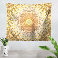 Abstract Flower Yellow Tapestry