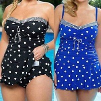 Plus Size full figure  polka dot Swimwear pleated bathing suit