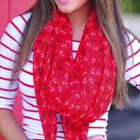 Let Your Anchor Down Scarf: Red | Hope's