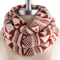 tribal infinity knit scarf , rust