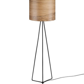 Wood Floor Lamp OLAV - Modern Lamp - Design Floor Lamp - Walnut Veneer Lamp shade - Modern Interior Design - Nature Meets Industrial