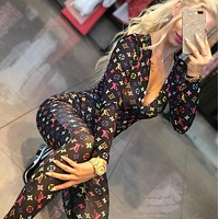 LV Louis Vuitton Autumn Fashion Women Casual Print Long Sleeve Jumpsuit
