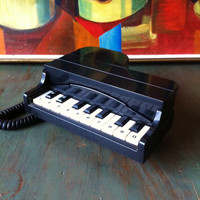 Vintage 80's Black Grand Piano Novelty Keyboard Phone Funny Works Great Land Line Old School Kitsch Casio Music Nerd Geek CLASSIC