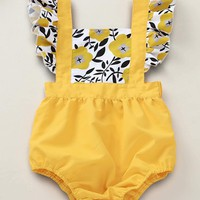 Baby Girl Floral Print Ruffle Trim Overalls