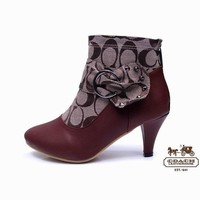 Coach Women Fashion Leather Short Boots Heels Shoes