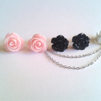 2 pairs Fashion rose flowers ear cuff plus earrings by CuffMyEar