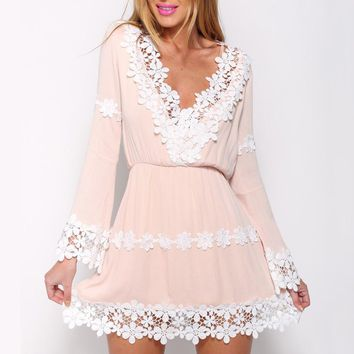 Hot Sale Newest Popular Women Lace Chiffon Long Sleeves Dress