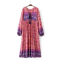 Vintage Bohemia Chest Lace Up Bow Colorful Ethnic Flower Loose Dress Long Sleeve Fashion Women Knee-Length Vestidos Q17-01-21