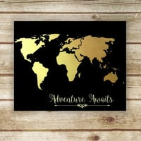 Travel Wall Art, Printable World Map, Inspirational Print, Adventure Awaits, Travel Print, Faux Gold Foil - Instant Download, Commercial Use