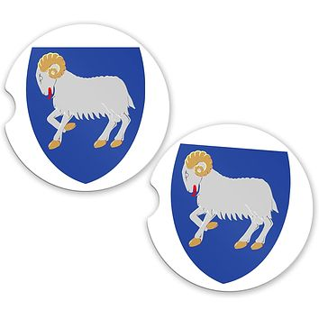 Faroe Islands World Flag Coat Of Arms Sandstone Car Cup Holder Matching Coaster Set