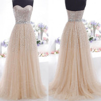 Sequins Sweetheart Strapless Long Prom Dresses
