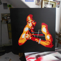 large canvas painting of tupac shakur,2 pac,pray for a brighter day,stencils & spraypaints on 30 by 30 inch canvas,hip hop,music,wall art