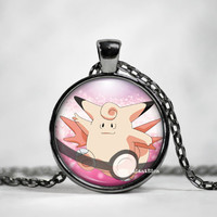 Clefable Pokeball Pendant, Clefable Necklace, Pokemon in Pokeball necklace, Pokemon Go,pokemon necklace,pokeball necklace, anime, pokeball