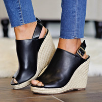 *  Bella Marie Wedge Sandal: Black