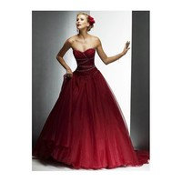 Wine Red Strapless Ball Gown Corset Train Style Satin Lace Wedding Dress - Star Bridal Apparel