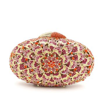 Oval Flower Rhinestone Minaudiere Box Clutch