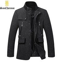 New Arrival Wool Stand Collar Men Coats Male Outwear Casual Men Jacket Size M-3XL