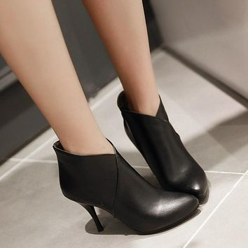 Pointed Toe Ankle Boots Stiletto Heel High Heels Shoes Woman 3291 3291