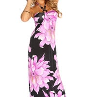 Violet Floral Beaded Halter Strap Causal Summer Maxi Dress