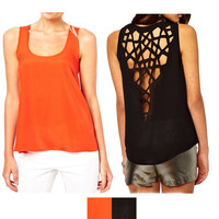 Web Cut-Out Sleeveless Top