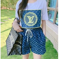 LV Louis Vuitton Women Casual Top Shorts Set Two-piece