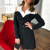 Office lady stripe dress women Sash button short blazer dress Elegant black long sleeve dress female