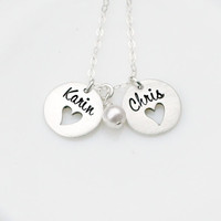 Personalized Necklace - Hand Stamped Necklace - Double Open Hearts - Heart Cut Out Necklace - Gift for Mom