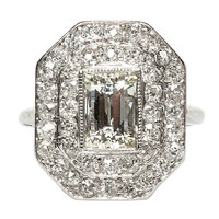 1.61 Carat Diamond Platinum Art Deco Engagement Ring