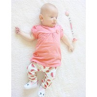 2016 Summer Baby Girl Clothes Cotton Shorts Sleeve Pink T-shirt+Watermelon Pants Baby Clothing Sets Kids Clothes Newborn Outfits