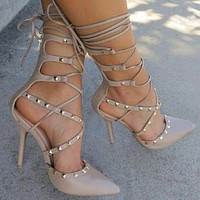 Bootie Hollow Cross Lace Up Rivets Stiletto High Heels Shoes