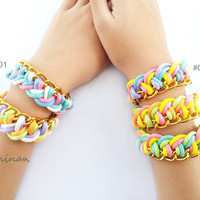 5 shade color -  Colorful braided bracelet  for summer - with gold chain