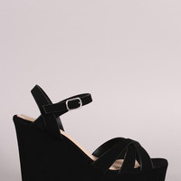 Bamboo Crossover Strappy Platform Wedge Sandal