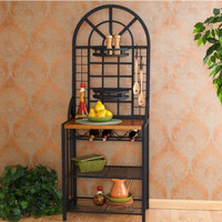 Elegant Baker's Rack With 6 Movable Hooks Kitchen Furniture Stylish Black Finish