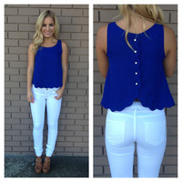 Royal Blue Scallop Button Back Blouse